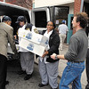 Members of Hoosier Park's Food & Beverage department unload cases of food to the waiting arms of Christian Center personnel for their Thanksgiving dinner.  Hoosier Park donated $2,400 worth of food to the center which included 20 turkeys, 16 hams, cases of rolls, desserts, sweet potatoes, green beans, mashed potatoes, and cranberry sauce.<br /> <br /> <br /> <br /> Hoosier Park delivers food to Christian Center for their Thanksgiving dinner.