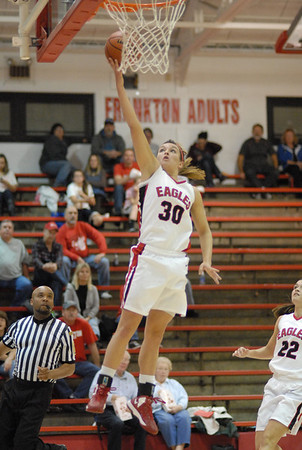 Kelsey Key puts two points on the board for Frankton.