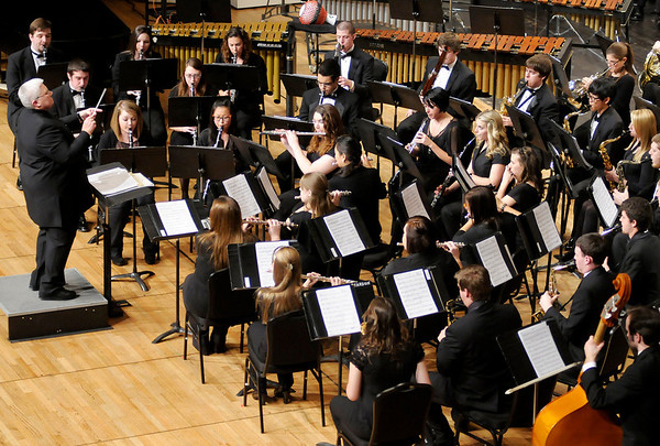 Susan Taylor conducts Anderson University's Wind Ensemble as they perform at Reardon Auditorium on Thursday.