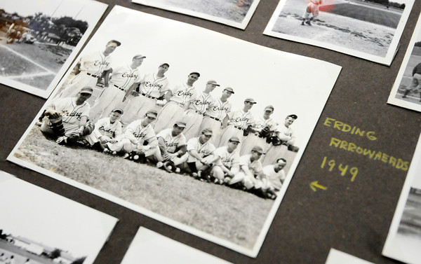 Don Knight | The Herald Bulletin<br /> Air Force veteran Andrew Sandala has a team photo of the 1949 Erding Arrowheads in his scrapbook. Sandala played for the Arrowheads while stationed in Germany.