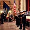 John P. Cleary |  The Herald Bulletin<br /> The Anderson High School  Naval Jr. ROTC presents the colors for the Madison County Veterans Day Celebration.