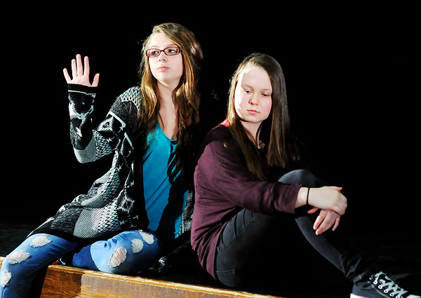 John P. Cleary    The Herald Bulletin<br /> Anderson High School Theatre Arts students Madison Brady and Kyra Stewart run through a scene as they rehearse for AHS's upcoming Improv Show.