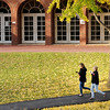Don Knight | The Herald Bulletin<br /> Students walk through the valley past the Nicholson Library on Friday. The first freeze of the season is forecast for the weekend. This fall has broke the record for the latest freeze.