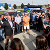 John P. Cleary |  The Herald Bulletin<br /> John Gregg addresses a large group of supporters during a campaign stop at Good's Candy Shop Wednesday afternoon as part of his John Gregg for Governor campaign bus tour.