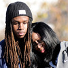 Don Knight | The Herald Bulletin<br /> Mushell Kelley leans on her son Tyler as the two visit the spot where her son Shaolin Newsom was shot and killed in October.