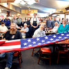 John P. Cleary |  The Herald Bulletin<br /> Daleville American Legion Post 446 Honor Guard members Gary Benefiel and David Courtier fold the American flag during a veterans observance Monday at the Golden Corral restaurant. The event was sponsored by Anderson Chapter 12 of the Disabled American Veterans and hosted by Golden Corral.