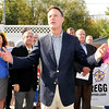 John P. Cleary |  The Herald Bulletin<br /> Evan Bayh addresses the crowd at Good's Candy Shop Wednesday afternoon during the John Gregg for Governor campaign bus tour.