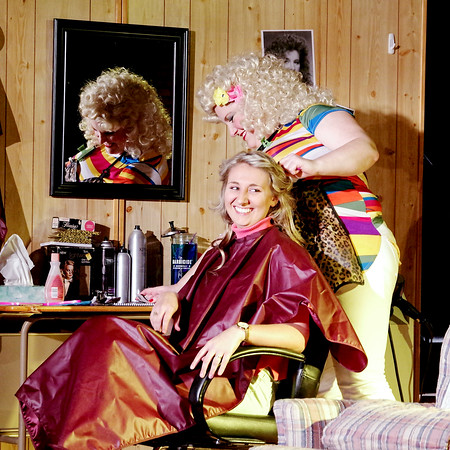 """Mark Maynard   For The Herald Bulletin<br /> Truvy (Allison Hughel-Cage), owner of Truvy's Beauty Spot, styles Shelby's  (Katherine Jones) hair for her wedding in """"Steel Magnolias"""" presented by the Alley Theatre at Central Christian Church."""