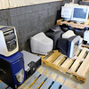 Don Knight | The Herald Bulletin<br /> Old computers and monitors sit on pallets at the Madison County Recycling Center. The center is open to Madison county residents only and averages 20,000 pounds of electronics each month.