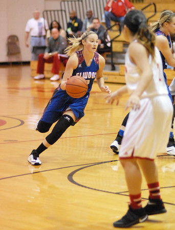 David Humphrey | For The Herald Bulletin<br /> Gabby Leavell brings the ball upcourt for the Lady Panthers.