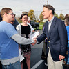 John P. Cleary |  The Herald Bulletin<br /> Evan Bayh greets folks at Good's Candy Shop as part of the John Gregg for Governor campaign bus tour when it made a stop Wednesday afternoon.