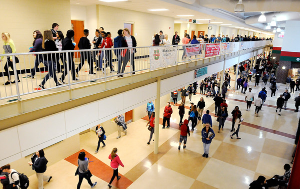 Don Knight | The Herald Bulletin<br /> Students walk to their next class at Anderson High School on Thursday. ACS's average daily membership is up 117 students, or about 1.7 percent, over last year.