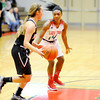 Don Knight | The Herald Bulletin<br /> Anderson's DeeDee Sutton guards Huntington North's Hollyn Anderson on Saturday.