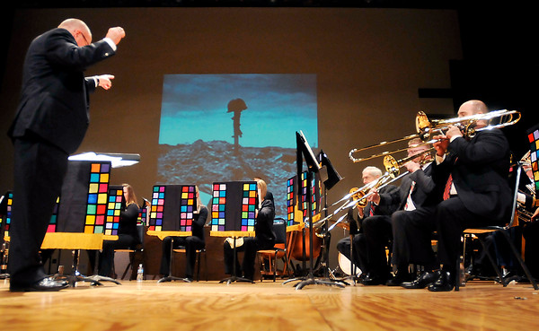 John P. Cleary |  The Herald Bulletin<br /> The Alpha Brass plays an American Salute at the beginning of the Madison County Veterans Day Celebration at the Paramount Theatre Thursday evening.