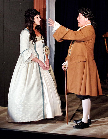"""Mark Maynard   for The Herald Bulletin<br /> Abigail (Mindy Morton) and John Adams (Mark Tumey) sing """"Yours, Yours, Yours"""" in Anderson's Mainstage Theatre's presentation of """"1776."""""""
