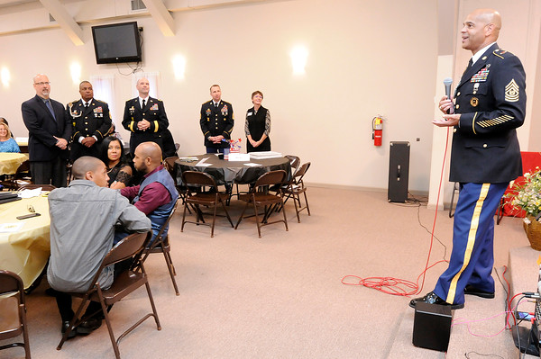 Don Knight | The Herald Bulletin<br /> Command Sgt. Maj. Arthur Leak speaks during his retirement ceremony at Sherman St. Church of God in October.