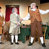 "Mark Maynard | for The Herald Bulletin<br /> John Adams (Mark Tumey) and Benjamin Franklin (William Malone) listen as Richard Henry Lee (Martin Staplton) extoles in song the power and virtues of ""The Lees of Old Virginia."""