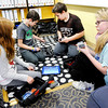 Don Knight | The Herald Bulletin<br /> From left, Gracie Graham, Carter Sillery, Jason Starkey and Emma Goodson build a test bed with a VEX Robotics kit in John Lambert's STEAM class at Eastside Elementary.