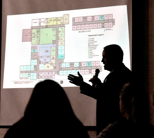 John P. Cleary    The Herald Bulletin<br /> ACS superintendent Dr. Tim Smith conducts the first of four community meetings on the school's revised bond referendum at Tenth Street Elementary School Monday evening. Here he shows the floor plan for Eastside Intermediate School for fifth and sixth graders using the old Eastside Middle School building.