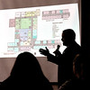 John P. Cleary |  The Herald Bulletin<br /> ACS superintendent Dr. Tim Smith conducts the first of four community meetings on the school's revised bond referendum at Tenth Street Elementary School Monday evening. Here he shows the floor plan for Eastside Intermediate School for fifth and sixth graders using the old Eastside Middle School building.