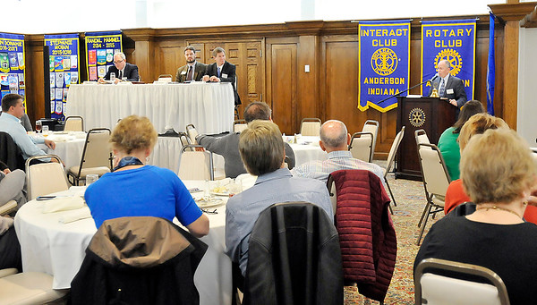 John P. Cleary |  The Herald Bulletin<br /> The IU Kelley School of Business and Anderson University Falls School of Business, held the annual business outlook for Indiana and Madison County Tuesday at the Anderson Rotary Club.