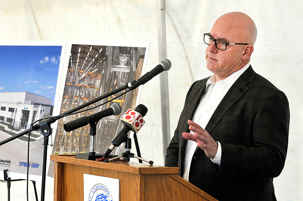 John P. Cleary |  The Herald Bulletin<br /> Steve Tippmann, executive vice president, Tippmann Group/Interstate Warehousing, addresses those gathered for the Groundbreaking of Interstate Warehousing, a 250,000-square-foot cold storage facility to be built in the Flagship Enterprise Center.