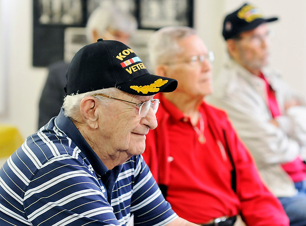 John P. Cleary    The Herald Bulletin - Veterans Tab<br /> Korean War veterans monthly meeting October 9, 2017 held at the 40 & 8.<br /> Robert Schepper, foreground, listens to the meeting along with other Korea veterans.