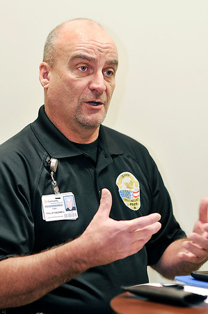 John P. Cleary |  The Herald Bulletin<br /> Chief Phillip Caldwell, head of the newly formed Community Hospital Anderson Police Department, talks about the benefits of being their own police department.