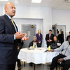 Don Knight |  The Herald Bulletin<br /> Indiana Attorney General Curtis Hill talks about the Indianapolis Ten Point Coalition during a meeting at the Anderson Township Trustee office on Wednesday.