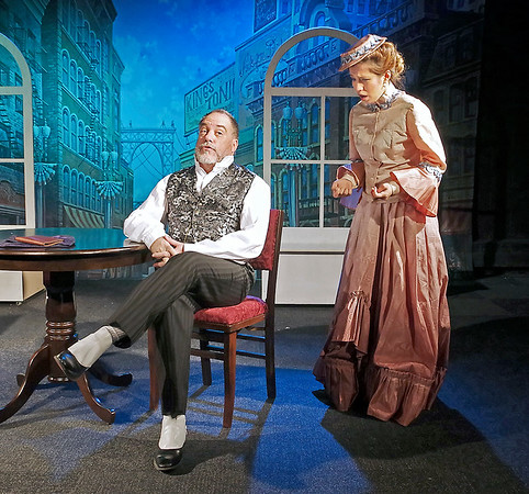 """Mark Maynard   for The Herald Bulletin<br /> Ermengarde (Pia Desideria) is distraught when her uncle and guardian, Horace Vandergelder (Rick Vale),  reveals his plans to keep her from marrying her true love, artist Ambrose Kemper, in Thornton Wilder's  comedy """"The Matchmaker."""""""