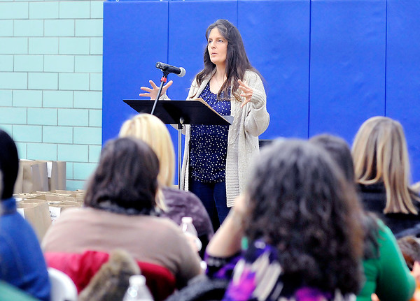 John P. Cleary |  The Herald Bulletin<br /> Kathy Giselbach, of Beauty for Ashes, tells her story to those attending the Homeless Awareness Luncheon Thursday hosted by the Madison County Homeless Taskforce in recognition of National Homeless Awareness Week.