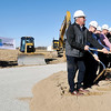 John P. Cleary |  The Herald Bulletin<br /> Officials of Tippmann Group, Interstate Warehousing, and the City of Anderson toss sand during a ceremonial groundbreaking Wednesday as earth moving equipment is staged and ready to go for a new $30 million cold storage warehouse facility near the intersection of Layton Road and 73rd Street. The 250,000-square-foot facility is expected to be completed by the end of August 2018.