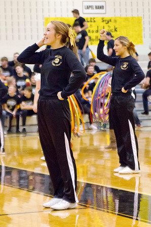 Bob Hickey | For The Herald Bulletin<br /> The Lapel cheerleaders lead the crowd in a cheer during a pep session for the football team on Thursday.