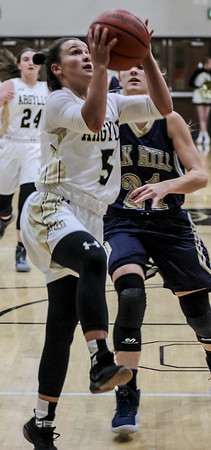 Chris Martin for The Herald Bulletin.<br /> Madison-Grant's Danyelle drives to the basket Friday night at home against Oak Hill