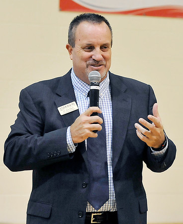 John P. Cleary    The Herald Bulletin<br /> ACS superintendent Dr. Tim Smith conducts the first of four community meetings on the school's revised bond referendum at Tenth Street Elementary School Monday evening.