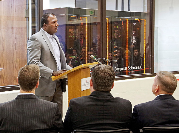 Mark Maynard | for The Herald Bulletin<br /> Bala Karapatti, of Dell EMC, discusses his company's role as a sponsor of Anderson University's new Cybersecurity Engineering Laboratory during the official ribbon cutting ceremony.
