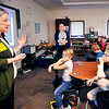 "John P. Cleary |  The Herald Bulletin<br /> Helen Frost, left, author of the children's book ""Salt: A Story of Friendship in a Time of War"", and Dani Tippmann, center, team up to give a presentation about the Native American Miami tribe that lived throughout the midwest to Megan Nolan's third and fourth-grade high ability class at Alexandria-Monroe Intermediate School."