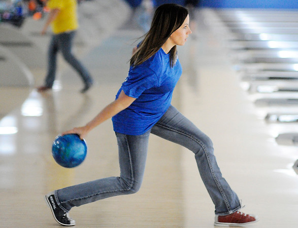 Don Knight |  The Herald Bulletin<br /> Stephany Morgan bowls for the Bethany Point team during Bowlpalooza at Championship Lanes on Saturday. The event raises funds for the Exchange Club Family Resource Center Childrens Bureau. Thirty teams participated raising over $6,000.
