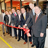 Mark Maynard | for The Herald Bulletin<br /> Bala Karapatti (Dell EMC), Matthew Grashoff (Extreme Networks, Inc.), Anne Teel, David Raftery (Integration Partners), Eric Miller (Ascension Information Services), Gerry Lewis (Ascension Information Services), President John Pistole and Dean Chad Wallace prepare to cut the ribbon officially opening Anderson University's new Cybersecurity Engineering Laboratory.