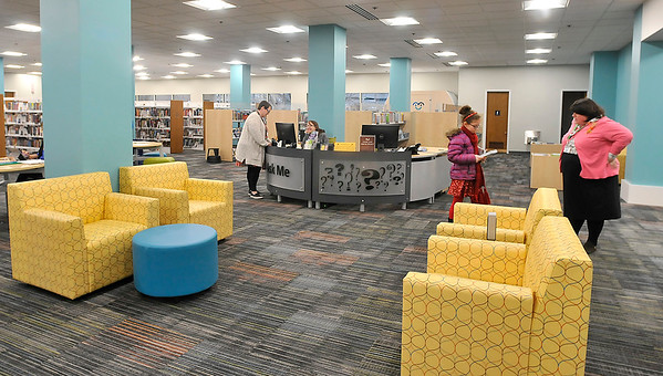 John P. Cleary |  The Herald Bulletin<br /> The newly remodeled Children's Department at Anderson Public Library features new carpeting, paint, funiture, and a mural to have a more welcoming and inviting space for visitors.