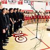 "Don Knight |  The Herald Bulletin<br /> The Frankton choir and band perform the ""Armed Forces Salute"" during the Veterans Day program at Lapel High School on Friday."