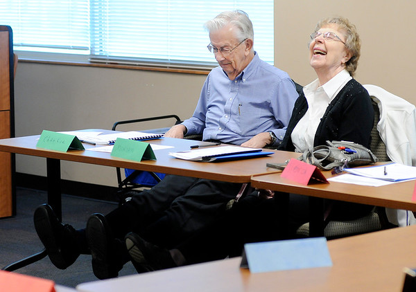 Don Knight | The Herald Bulletin<br /> Charlie and Miriam Jones participate in group exercises during a fall prevention class that is a joint effort of Community Hospital and St. Vincent.