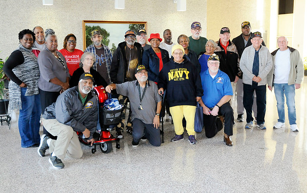 Don Knight | The Herald Bulletin<br /> Local veterans gather for a group photo during Veteran's Appreciation Day at the City Building on Saturday.