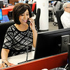 Don Knight | The Herald Bulletin<br /> WTHR anchor Andrea Morehead works in the Channel 13 news room on Wednesday.