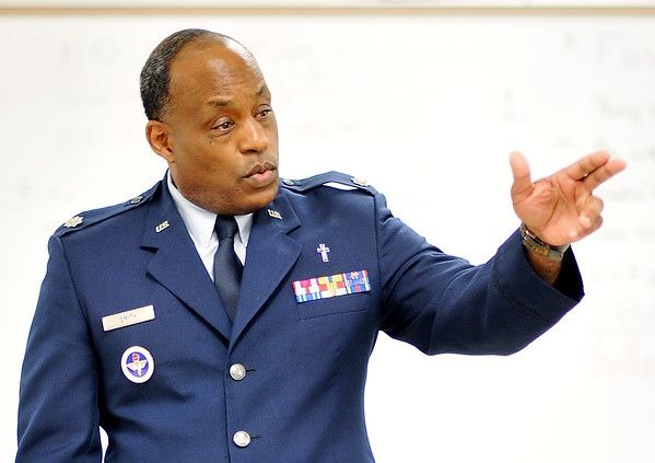John P. Cleary | The Herald Bulletin<br /> Air Force Reserves veteran Obadiah Smith Jr. is the senior aerospace science instructor at Anderson Preparatory Academy.