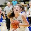 Don Knight | The Herald Bulletin<br /> Madison-Grant's Zoey Barnett looks to shoot the ball as the Argylls hosted the Tipton Blue Devils on Saturday.