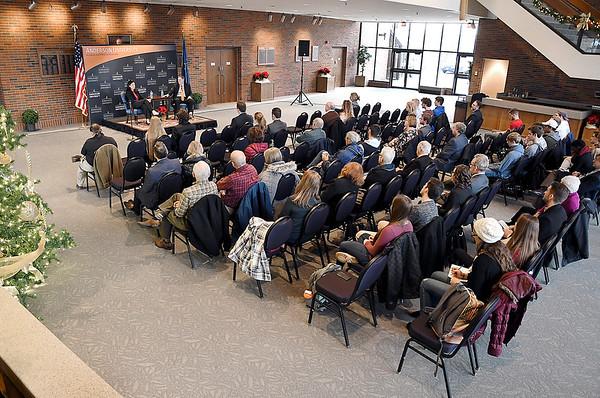 John P. Cleary   The Herald Bulletin<br /> Former U.S. Senator Kelly Ayotte speaks at Anderson University.