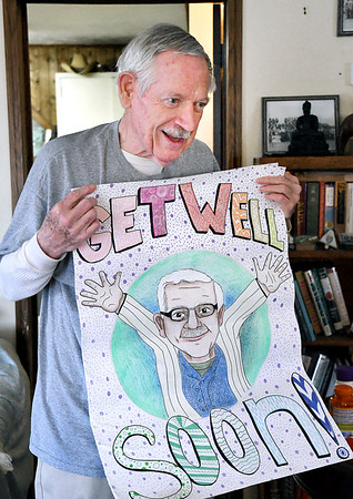 John P. Cleary   The Herald Bulletin<br /> When Dave Moore was diagnosed with Diffuse Large B-Cell Lymphoma he was substitute teaching at Elwood Jr-Sr High School. During his surgery and treatments students from the school sent him this giant Get Well card to lift his spirts.