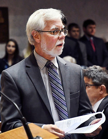 """John P. Cleary   The Herald Bulletin<br /> Senate Minority Leader Tim Lanane, D-Anderson, said """"this is a very serious policy that we're putting together here today"""" speaking of the Legislative Council that unanimously approved a report setting a sexual harassment policy for legislators during Organizationl Day at the Indiana Statehouse. Tuesday."""