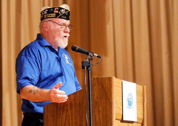 Don Knight | The Herald Bulletin<br /> Disabled American Veterans District 3 Commander Terry Baumfalk encourages veterans to use the benefits that are available to them during Veterans Appreciation Day on Saturday.